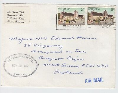 1982 Government House Bahamas Air Mail Cover to Bognor Regis Official Stationary