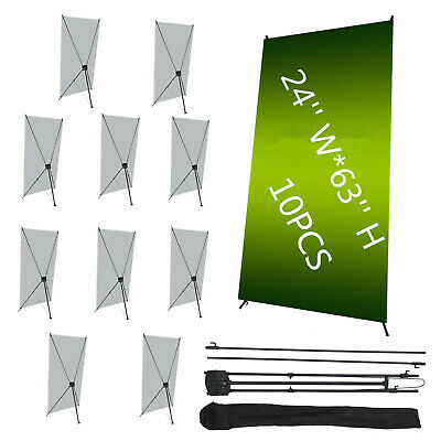 "10Pcs X Banner Stand 24"" x 63"" Trade Show Display Promotion Foldable W/ Bag"