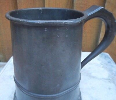 Antique Pewter Quart Tankard Stamped With Touchmarks