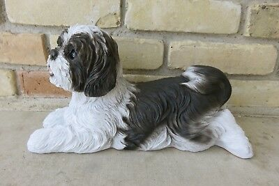 SHIH-TZU-DOG-FIGURINE-resin-animal-Statue-PET-BLACK WHITE-LYING-ON-TUMMY