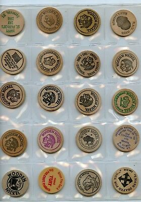 20 Pc. Wooden Nickel Group From Estate!!!!...starts @ 2.99