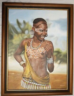 Original Prison Art Tribal African Woman OBADELE New York State Dept Corrections