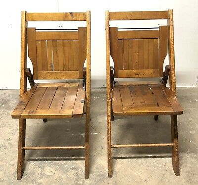 Vintage Wooden Folding Chairs.Vintage Wooden Folding Seats Theater Auctionhouse