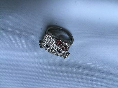 nice HELLO KITTY STERLING SILVER cz SANRIO RING size 7