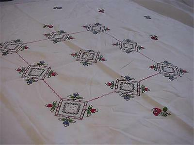 Vintage Embroidered Linen Tablecloth with Cut & Drawn Work Cross Stitch Roses