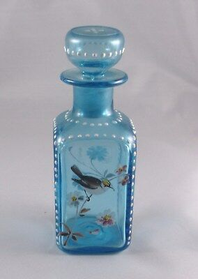 Vintage Blue And Hand Enameled Flowers and Bird Pontil Mark Perfume Bottle