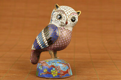 chinese old cloisonne hand carved owl statue netsuke collectable ornament