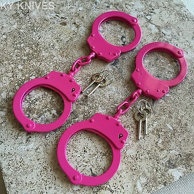 2 LOT PINK Steel Hand Handcuffs Police Double Locking Real Lock Cuffs 15920-2 W
