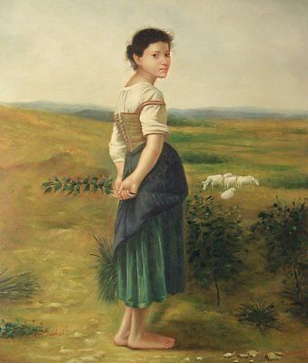 "Young Shepherdess, 24""x20"" Oil Painting on Canvas, Genuine hand painted"