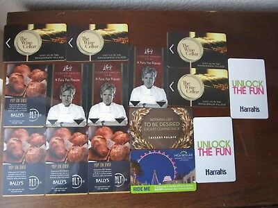 HOTEL Room KEY Cards Lot LAS VEGAS Casino Hotel Harrahs Paris Linq Gordon Ramsay