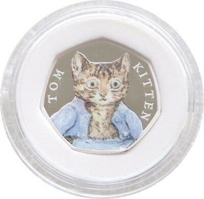 2017 Royal Mint Tom Kitten 50p Fifty Pence Silver Proof Coin Box Coa Cert 00075