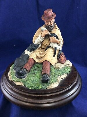 Country Artists England Shepherd & Lamb Ceramic Ornament CA 57 1984 Hand Crafted