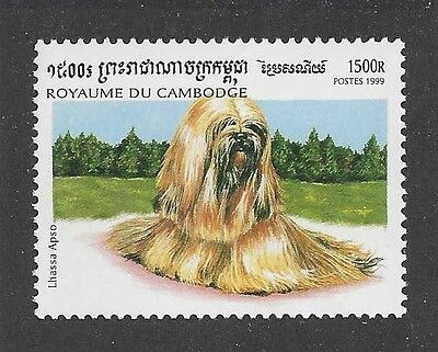 Dog Art Artwork Body Study Portrait Postage Stamp LHASA APSO Cambodia 1999 MNH