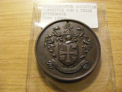 Large 1890's Wolverhampton Education Attendance Medal, nice condition - 50mm Dia