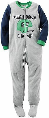 NWT ☀FOOTED FLEECE☀ CARTER'S Boys TOUCH DOWN CHAMP Pajamas 24m  3T 4T