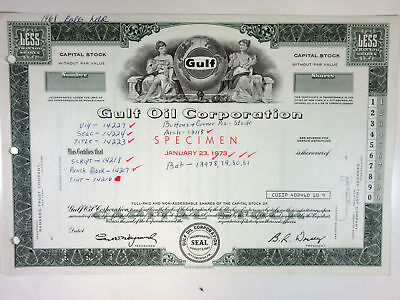 PA. Gulf Oil Corp, 1973 <100 Shrs Capital Stock Production Proof Certificate, XF