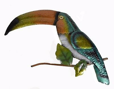 Metal African Toucan Bird Amazon Forest Tropical Island Wall Art Jungle Picture