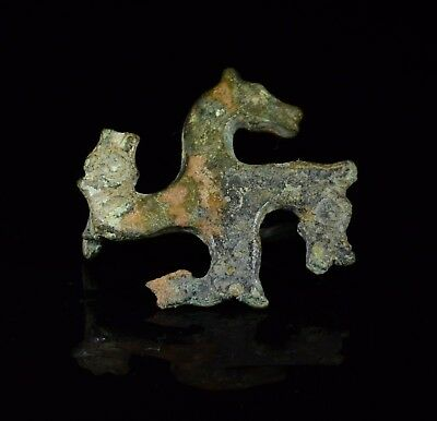 Ancient Roman Bronze Swastika Shaped Brooch / Fibula With Horse Heads  - T134