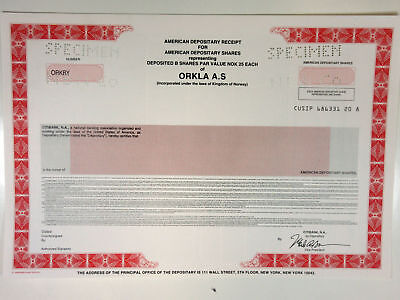 Norway. Orkla AS, 1990s Specimen ADR Certificate, XF