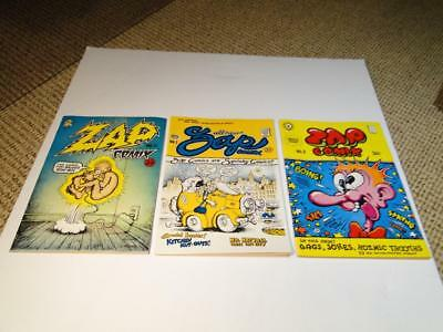 1967/68 ZAP Comix Issue 0, 1 and 2 35 Cent Cover price on first two Underground