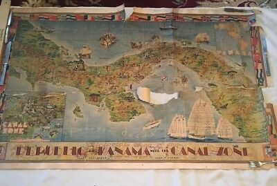 Pictorial Map of the Republic of Panama with the Canal Zone Herman & Teegarden