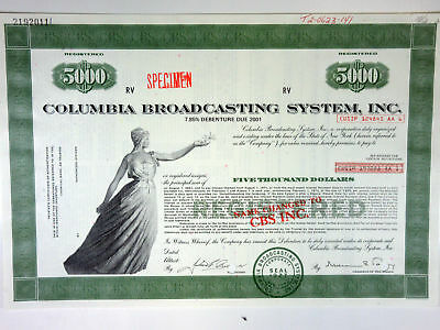 NY. Columbia Broadcasting System, Inc., 1970s Spec Bond-Name changed to CBS Inc
