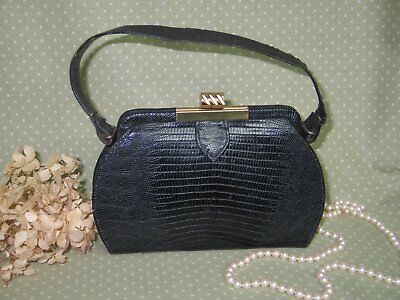 Classic Vintage Alligator Purse-Reptile Lizard 1950s 1960s Mid Century Navy Blue