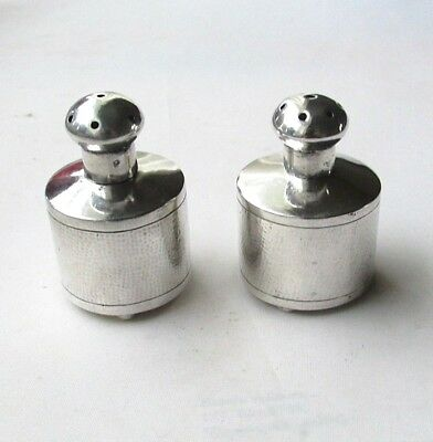 Antique solid silver Chinese salt and pepper shakers / pots by Tuckchang