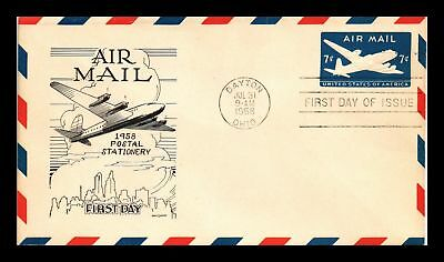 Dr Jim Stamps Us Cover Air Mail 7C Postal Stationery Fdc Lowry Cachet
