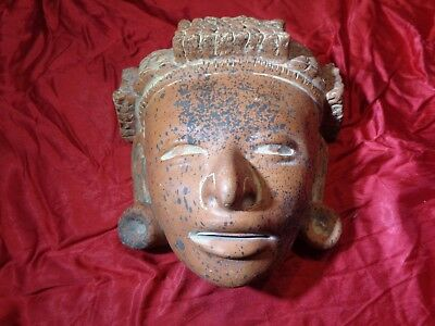 Mexican Mayan Aztec Clay Pottery Mask