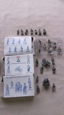 """Lot of 23 The American Pewter Collection Figurines 3/4 """" to 1"""" GC"""