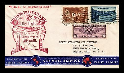 Dr Jim Stamps Us Cover First Flight Fam 18 New York Newfoundland Air Mail