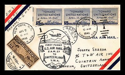 Dr Jim Stamps Us Cover First Flight Fam 27 New York Switzerland Air Mail 1946