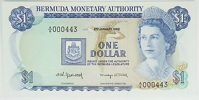 UNC 1982 Bermuda Monetary Authority $1 One Dollar Note LOW SERIAL NUMBER O3