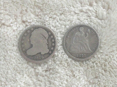 1836 Capped Bust and 1877-S Seated Liberty Dimes - Free Ship