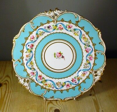 Antique Pierced Turquoise Cabinet Plate