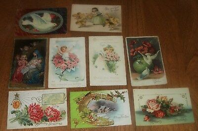 Lot of 9 Vintage Antique Holiday Birthday Best Wishes Postcards