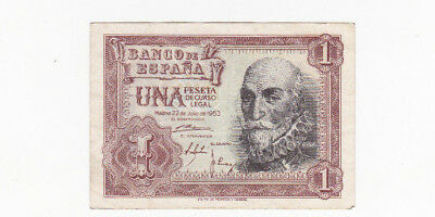 1 Peseta Very Fine Crispy Banknote From Spain 1953!pick-144