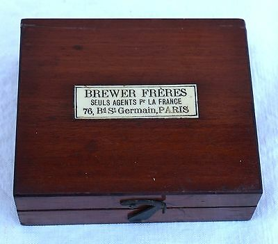 Brewer Precision Wheighing  Weight Box Apothicary Pharmacist Mahogany Paris 1900
