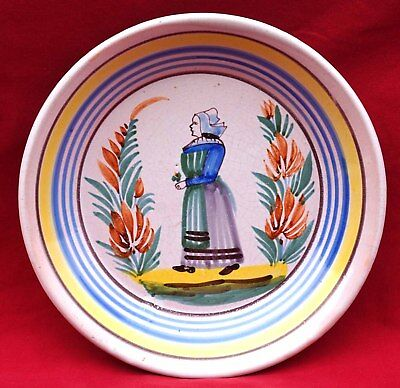 QUIMPER LA HUBAUDIERE Breton Lady Plate French Hand Painted Faience 19th C