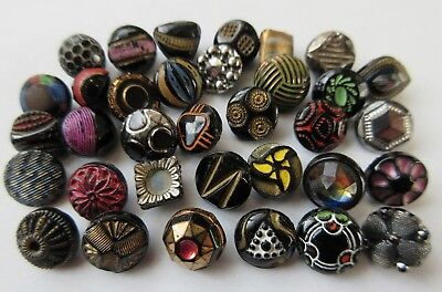 Fabulous Lot of 30+ Antique~ Vtg Black GLASS BUTTONS Painted Diminutive++ (M2)