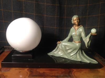 Antique Art Deco Sculpture Lamp With A Elegant Lady & Marble Base Org. 20's CHIC