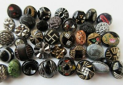 Lovely Lot of 40+ Antique~ Vtg Black GLASS BUTTONS Painted Diminutive++ (M3)