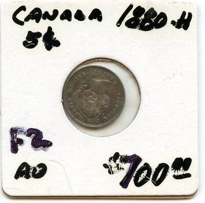 1880-H Au Canada 5 Cent Silver Coin From Estate!!!! .starts @ 2.99