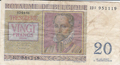 20 Francs Fine Banknote From Belgium 1956!pick-132!