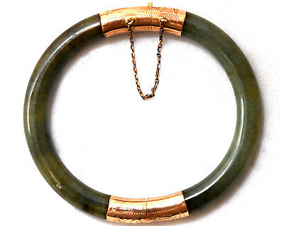 Antique Chinese 14K Solid Gold and Natural Grade A Jade Bangle/Bracelet