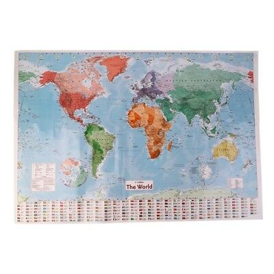 Large Waterproof World Map With Large English French Country Wall Poster 98x68cm