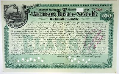 Atchison, Topeka & Santa Fe Railroad Co., 1892 Canacelled Stock Certificate, XF