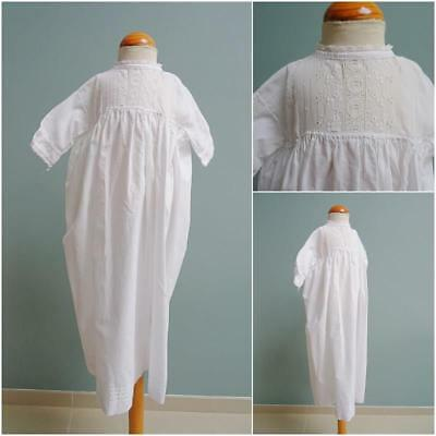 Antique Victorian Embroidered Whitework & Lace Babys Gown  Nightgown c1890