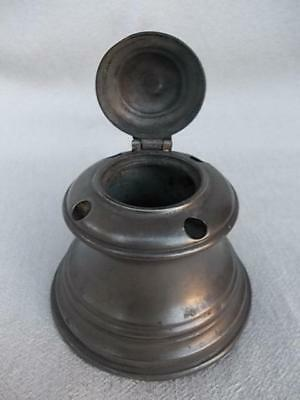 844 / Very Nice Antique Early 19Th Century Desk Top Pewter Inkwell